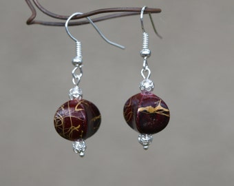 Burgundy And Gold Earrings, Valentine's Day Gift For Teen Girl, Lightweight Earrings