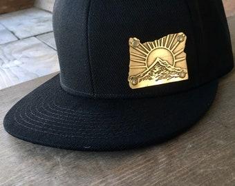Oregon Cutout with Mt. Hood sunrise design on black adjustable hat