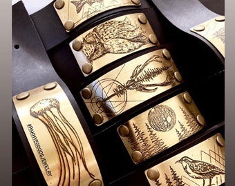 Animal Brass and Leather bracelets