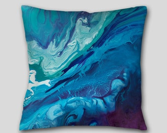 Teal navy blue plum, Abstract Throw Pillow, Aqua purple, Accent, Decorative cushion, Cover Case, Large sofa couch, Jewel tone Home decor