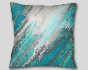 Teal gray, Throw Pillow, Turquoise Accent, Abstract Decorative cushion, Cover Case, Large sofa couch, Aqua Home decor