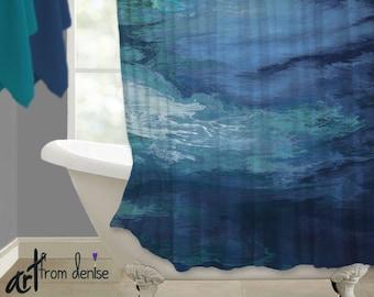 Shower Curtain Teal Navy Blue Bathroom Art Abstract Contemporary Bath Decor Waterproof Fabric