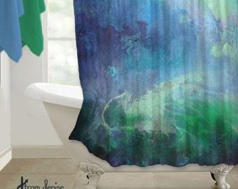 Blue Green Fabric Shower Curtain Navy Bathroom Decor Master Bath Art Abstract Design Pattern Emerald
