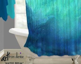 Navy Blue Aqua Shower Curtain Turquoise Teal Cobalt Bathroom Decor Bath Abstract Art Design High Quality Fabric