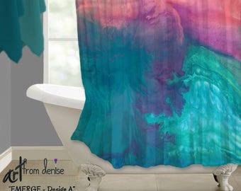 Bathroom Shower Curtain Abstract Art Coral Decor Purple Magenta Blue Turquoise Teal Aqua Contemporary Boho Fabric