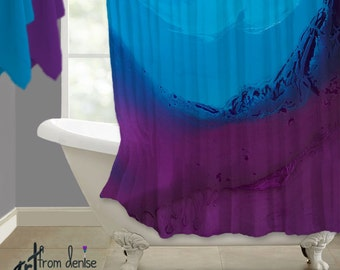 Fabric Shower Curtain Ombre Turquoise Navy Blue Purple Plum White Contemporary Bathroom Decor Master Bath Modern Abstract Art Boho