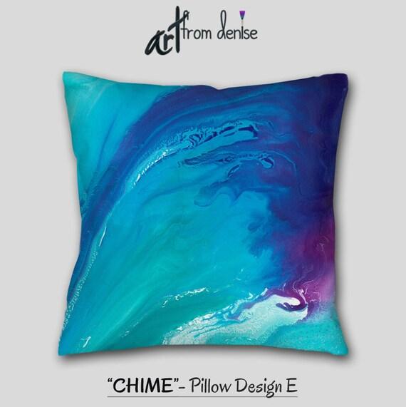 Teal Blue Purple Plum Abstract Throw Pillow Aqua Navy Etsy