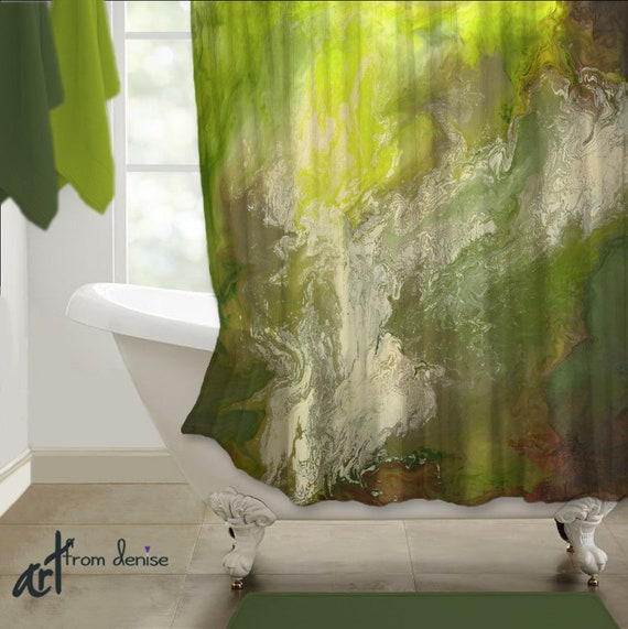 Green Shower Curtain Abstract Lime Olive Bathroom