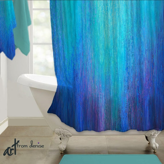 Fabric Shower Curtain Cobalt Blue Teal Turquoise Aqua