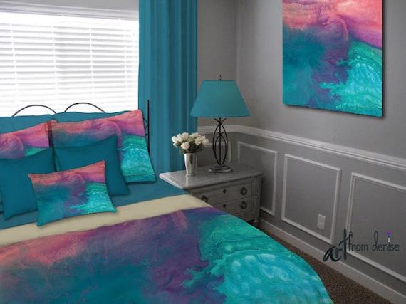 marvellous purple teal bedroom ideas | Turquoise blue duvet cover Coral teal purple bedroom decor ...
