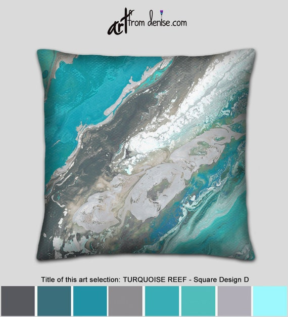 Astonishing Turquoise Decorative Pillow Cover White Gray Teal Throw Pillows For Bed Decor Abstract Couch Pillows Set Or Large Outdoor Sofa Cushions Andrewgaddart Wooden Chair Designs For Living Room Andrewgaddartcom