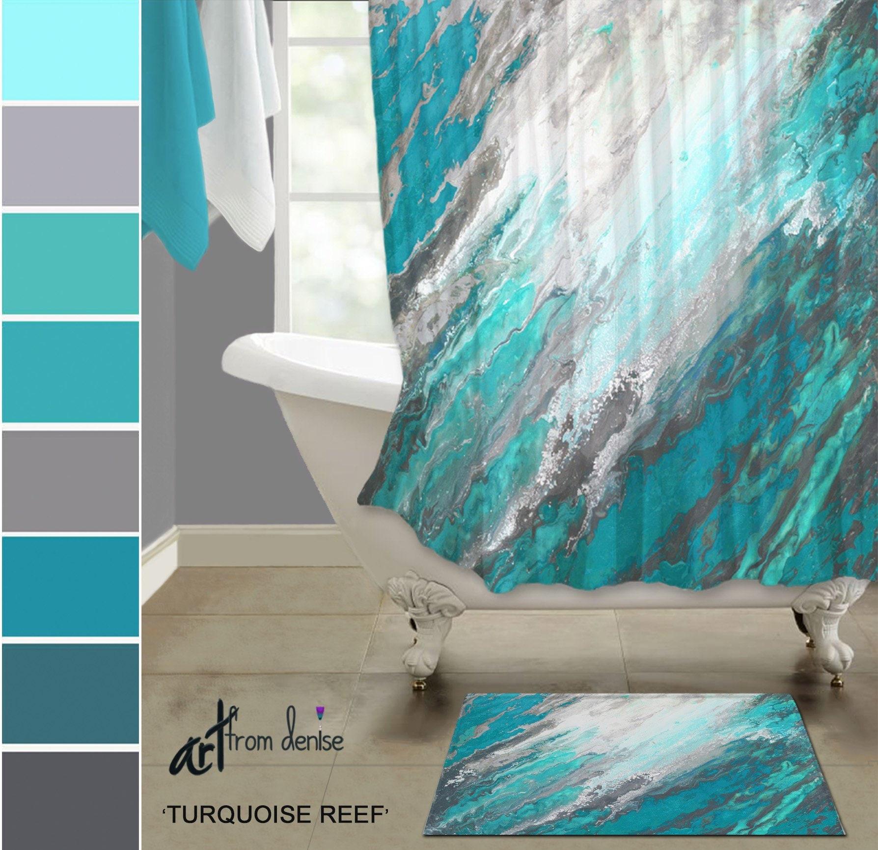 Gray And Teal Shower Curtain And Bath Rug Sets Modern Turquoise Aqua Teal Bathroom Decor Abstract Fabric Shower Stall Curtain Bath Mat