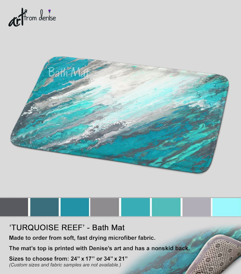 . Gray and teal bath mat   Modern bathroom sets  rug mats and or fabric  shower curtain   Contemporary abstract turquoise   teal bathroom decor