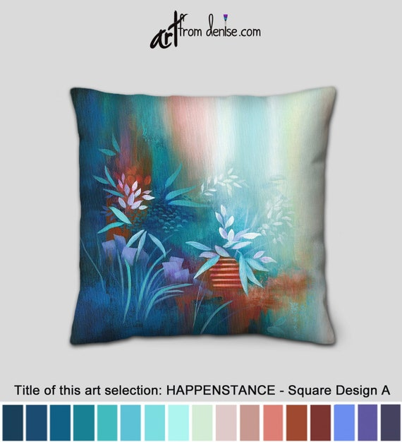 Phenomenal Navy Blue And Orange Throw Pillows For Bed Decor Couch Pillows Set Or Outdoor Decorative Pillows Floral Design Teal Aqua Purple Theyellowbook Wood Chair Design Ideas Theyellowbookinfo