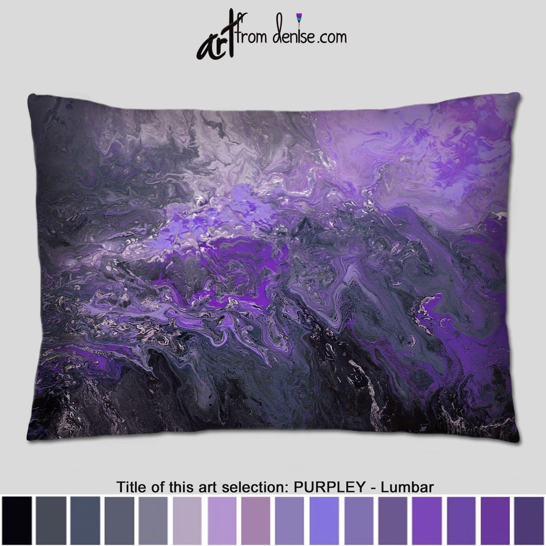 Large Purple Lumbar Pillow Back Support Cushion Black Gray Etsy