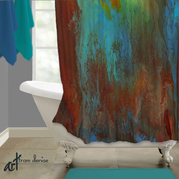 Fabric Shower Curtain Red Turquoise Teal Brown Bathroom