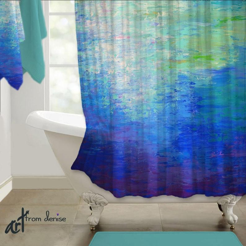 Modern Shower Curtain Cobalt Blue Teal Purple Bathroom