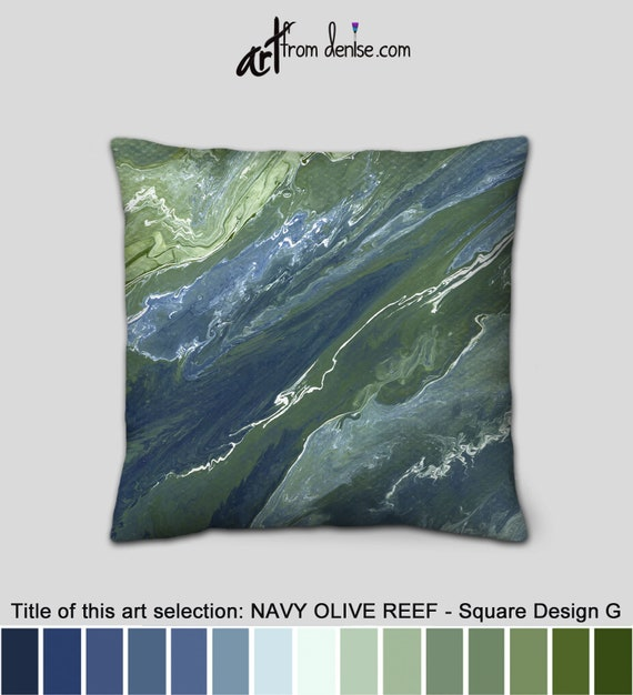 Oversized Olive And Navy Throw Pillows Green And Blue Decorative Pillows For Couch Large Sofa Cushion Covers Or Outdoor Pillows