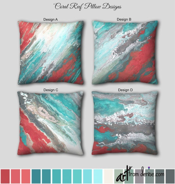 Teal and coral decorative throw pillow