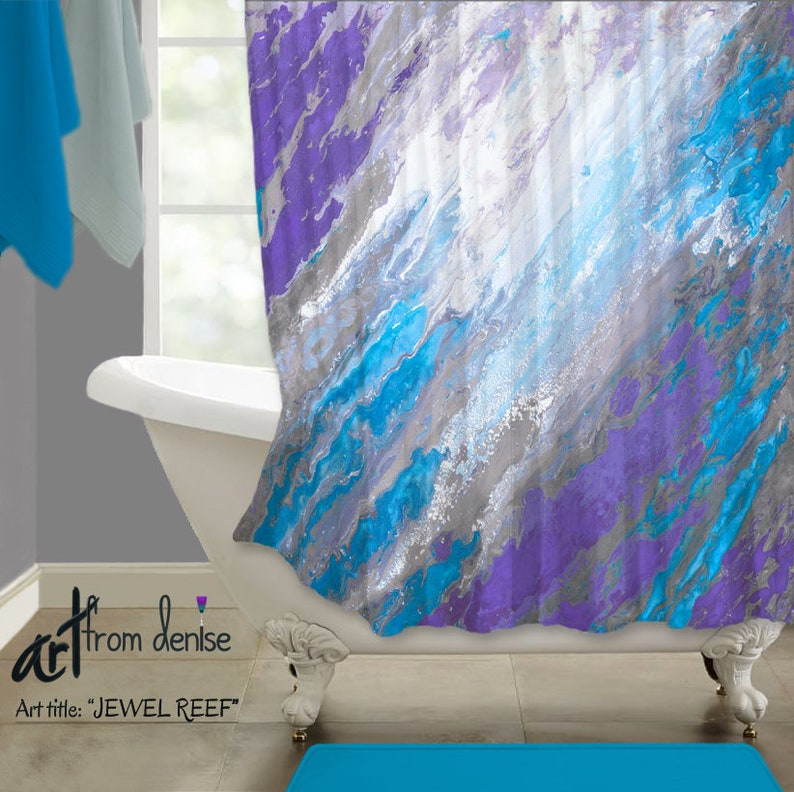 Abstract Blue And Purple Shower Curtain Fabric
