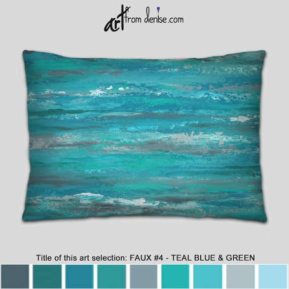 Admirable Large Gray And Teal Lumbar Pillow Green Blue Throw Pillows For Couch Pillows Set Bed Decor Pillow Or Outdoor Lumbar Sofa Cushion Inzonedesignstudio Interior Chair Design Inzonedesignstudiocom