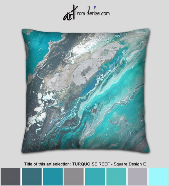 Turquoise and Beige Southwest Pillow Cover  Designer Tapestry Upholstery  22 x 22   Handmade Home Decor Accent Pillow  In Stock