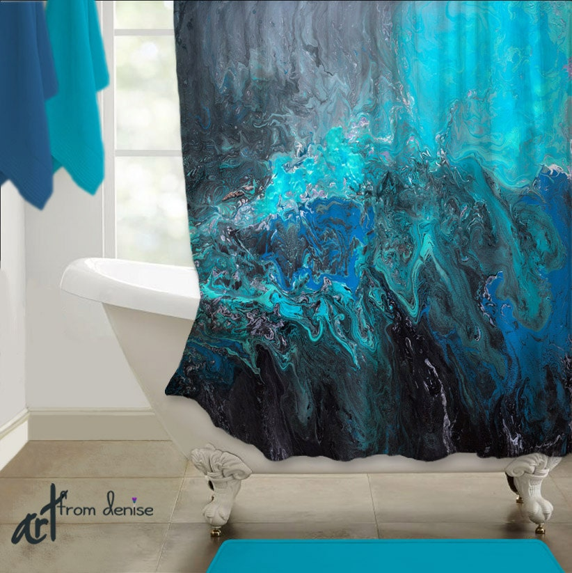 Fabric shower curtain Turquoise blue black Grey teal aqua ...