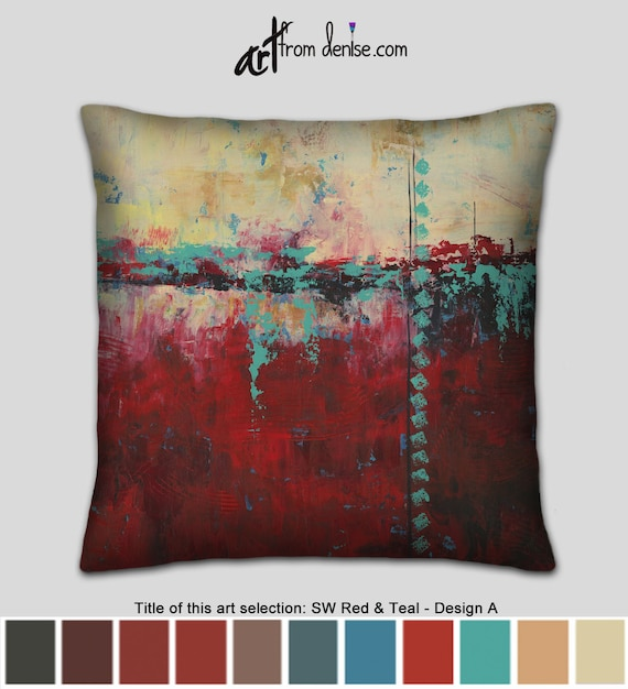 Southwest pillow abstract teal and red throw pillows for | Etsy