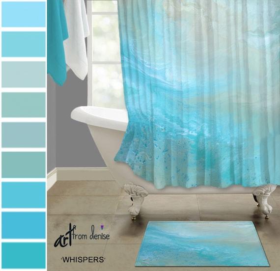 Teal Blue Fabric Shower Curtain Bath, Contemporary Bathroom Rug Sets