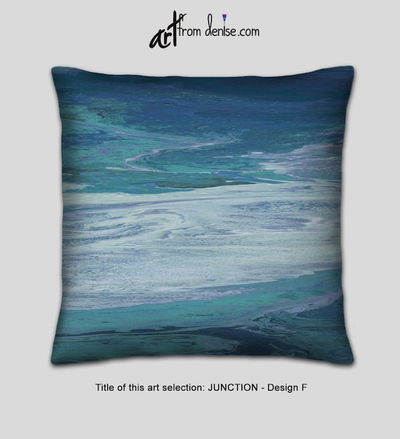 Teal gray and navy blue decorative pillow for bed, couch pillows set, large  sofa pillows, or outdoor throw pillows cushion
