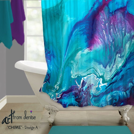 Aqua Blue Purple Shower Curtain Navy Teal Plum Bathroom