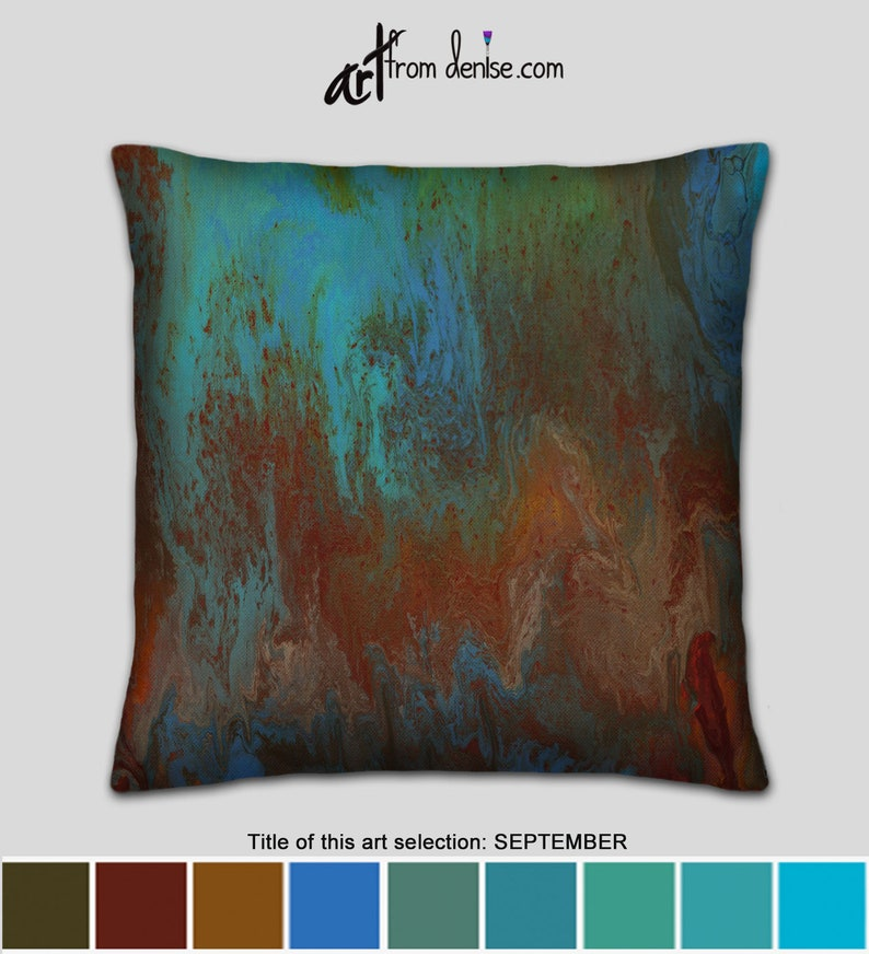 Red blue & green large couch pillows set or covers, modern throw pillows  for bed decor or outdoor sofa cushions