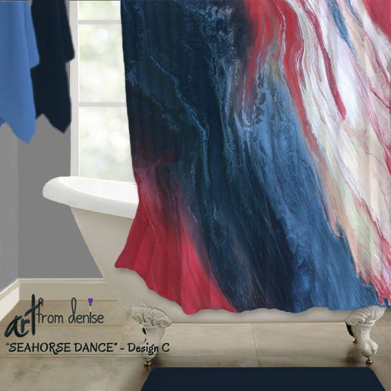 Red White Blue Coral Navy Bathroom Decor Shower Curtain Etsy