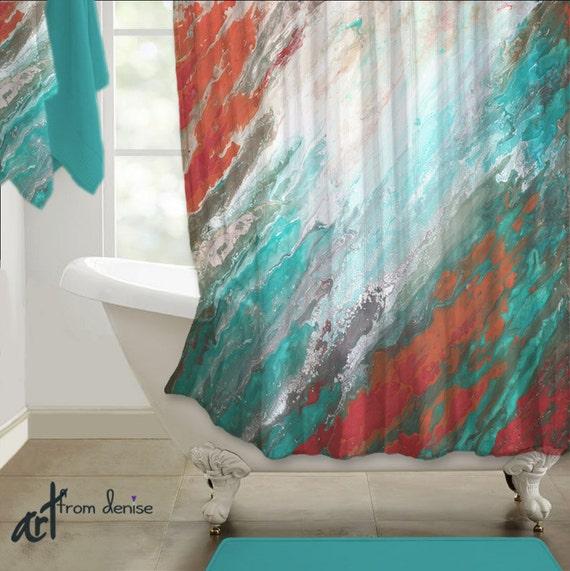 Coral Teal Gray Shower Curtain Aqua Peach High Quality