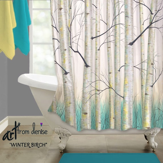 Blue And Yellow Bathroom Decor: Bathroom Shower Curtain Blue Yellow Bathroom Decor Birch