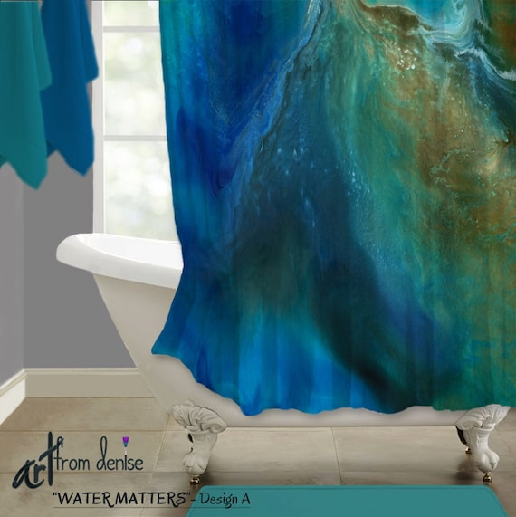Blue Shower Curtain Aqua Turquoise Teal Brown Gold Bachelor