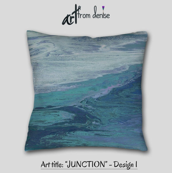 Teal Pillow Cover Navy Blue Abstract Throw Couch Pillow Etsy Inspiration Large Couch Pillow Covers