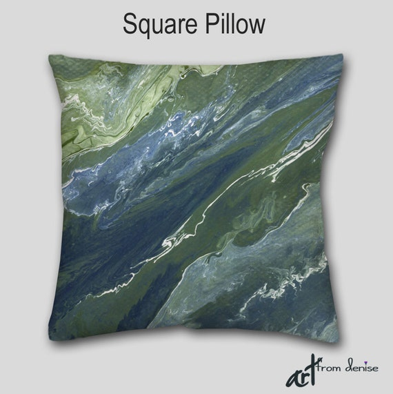 Navy Blue Abstract Throw Pillow Sage Green Olive