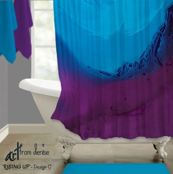 Fabric Shower Curtain Ombre Turquoise Navy Blue Purple Plum