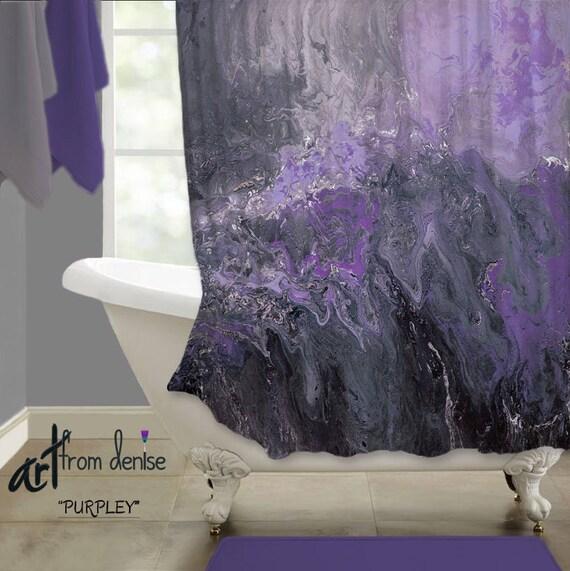 Purple And Black Bathroom: Purple Shower Curtain Modern Gray Black Purple Bathroom