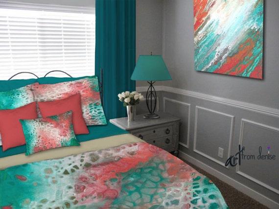 Coral Teal Duvet Cover Queen King Aqua Bedding Set Etsy