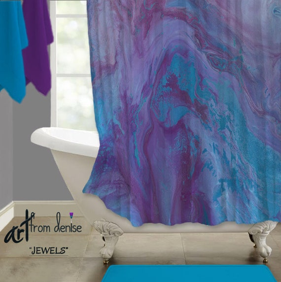 Plum Blue And Purple Shower Curtain Featuring Modern