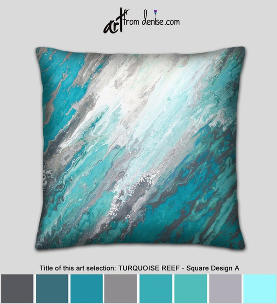 Teal gray and turquoise throw pillows or covers Aqua blue & | Etsy