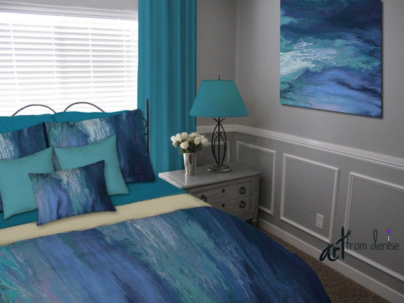 Modern Teal And Navy Blue Duvet Cover, Teal And Gray Queen Bedding