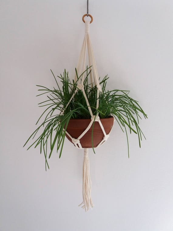Macramè plant hanger - Josephine knot - Cotton macrame plant holder, white  macrame hanging vase, macrame hanging wall, suspension planter