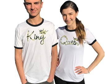 09dd97de King Queen couple ringer Shirts Camouflage, comes in a pair, Matching tees,  t-shirts for couples Matching