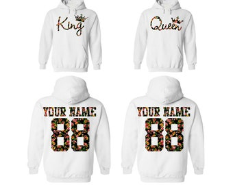 d8ec4ff7 KING QUEEN couple floral hoodies, personalized jersey Back custom names and  numbers, Matching hoodie, Anniversary gift **BOTH