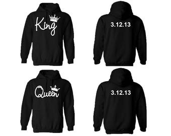 44b217e02b KING QUEEN couple hoodies, personalized Back custom Dates, comes in a pair,  Matching hoodie, Anniversary gift **BOTH