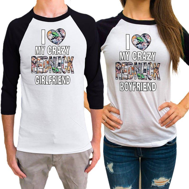 10faad5ae5 I love my crazy REDNECK boyfriend / /Girlfriend Couple Raglan | Etsy