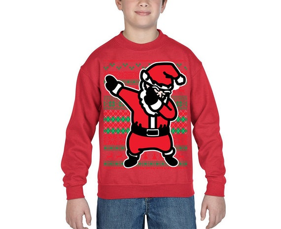 Funny Christmas Sweater.Youth Dabbing Santa Ugly Christmas Sweater For Kids Xmas Sweater Christmas Party Holiday Gift
